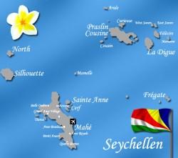 Seychellen Inseln Karte